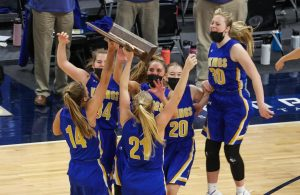 The Vikings celebrate winning the Class 1A title. Minneota held on to defeat Belgrade-Brooten-Elrosa 48-45 at Target Center on Friday afternoon. Photo by Cheryl A. Myers, SportsEngine