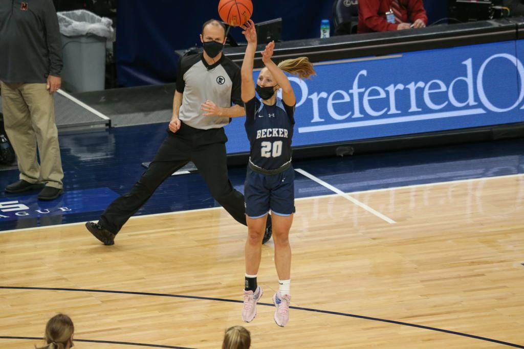 Becker's Julia Bengtson makes a three-point shot early in the first half of Friday's Class 3A championship game against Marshall at Target Center. The Bulldogs led the Tigers 37-24 at halftime. Photo by Jeff Lawler, SportsEngine
