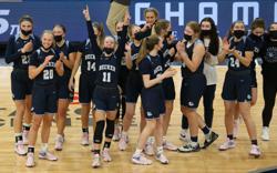 Basketball State Tournament Becker vs Marshall  Target Center  April 9, 2021.  Photo by Jeff Lawler, SportsEngine
