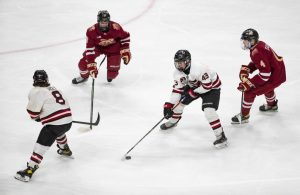 Eden Prairie forward Jackson Blake (43) skated through the Lakeview South defense in the first period.    ]  ALEX KORMANN • alex.kormann@startribune.com    Lakeville South took on Eden Prairie in the boy's hockey Class AA state championship on Saturday, April 3, 2021 in Xcel Energy Arena in St. Paul.